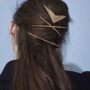 Accessories - Criss-Cross Geometric Gold Slim Hair Pin Clip